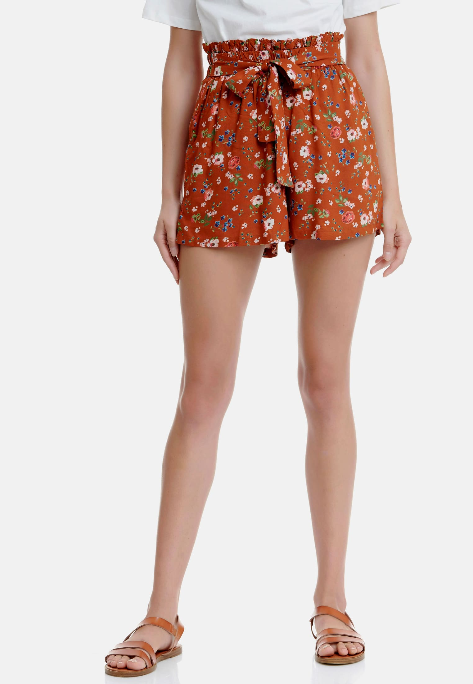 Viscose Shorts με floral τύπωμα