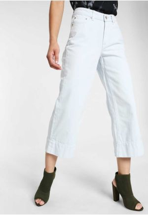 CROPPED WIDE LEG FIT JEANS