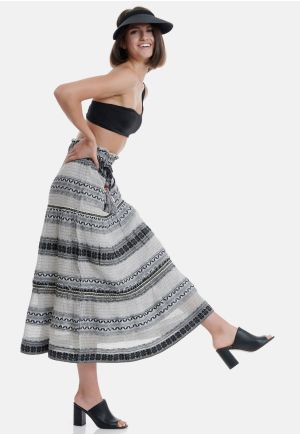 Cotton A-Line Skirt In Ethnic Look