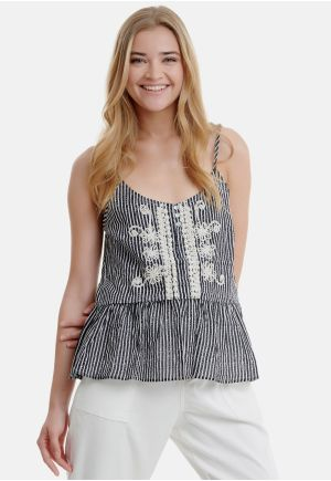 Pinstriped Shell Top with Embroidery
