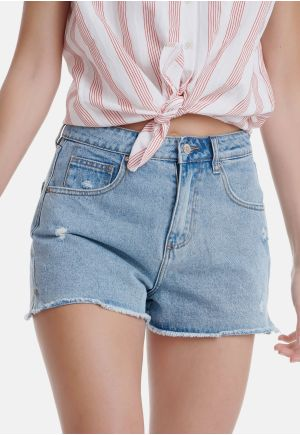 High Rise Denim Shorts With Destroyed Effects