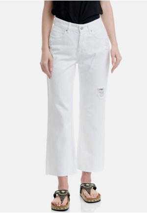 Regular Straight Fit Jeans With Destroyed Effects