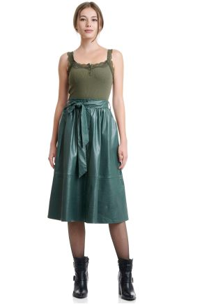 Pleated Faux Leather Skirt With Belt