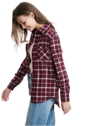 Flannel Plaid Shirt With Front Pockets