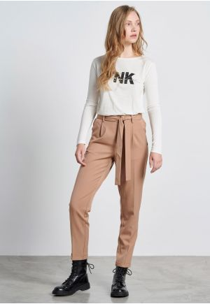 Peg-Leg Trousers with Belt