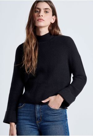 Mock Neck Knitted Sweater