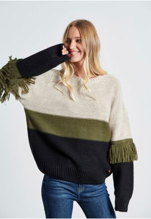 Crew Neck Sweater With Fringed Sleeves