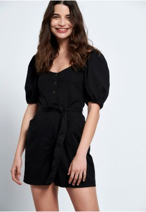 Lyocell playsuit with puff sleeves