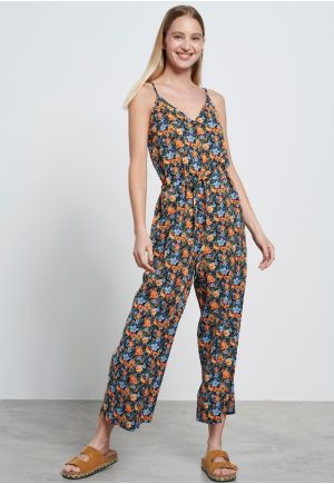 All over printed floral jumpsuit