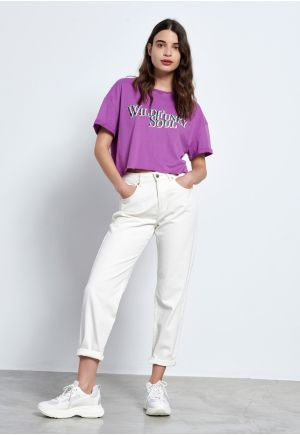 Cropped t-shirt with text print