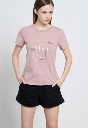Cropped t-shirt με τύπωμα κειμένου