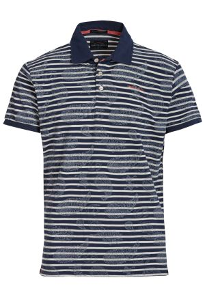 Striped And Floral Printed Polo Pique