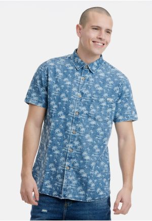 Printed Indigo Short Sleeve Shirt Regular Fit