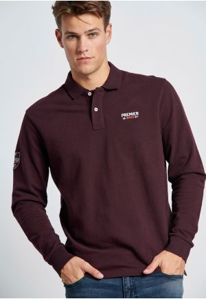 Embroidered Longsleeve pique Polo Shirt