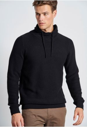 High Neck Sweater with Drawstrings