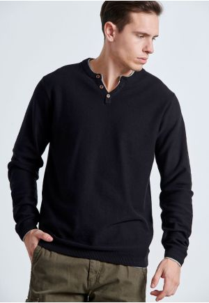 Fine-Knit Henley Sweater