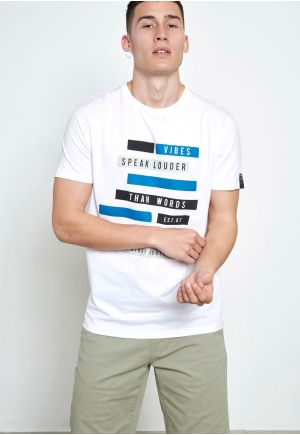 Text printed graphic t-shirt