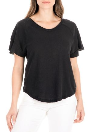 Linen-cotton t-shirt with wide sleeves