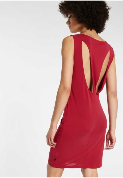 Slim fit dress with open back