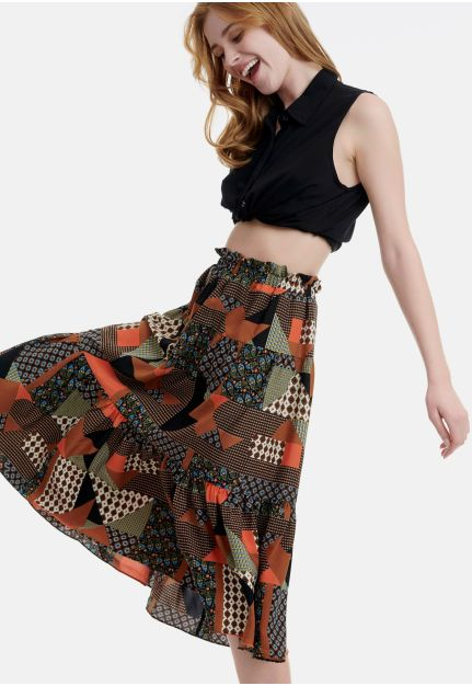 All-over Printed A-Line Skirt