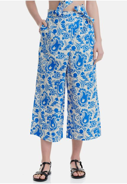 Cotton all-over Printed Wide Leg Trousers