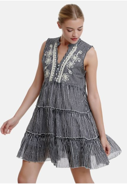 Embroidered Smock Dress with Stripes