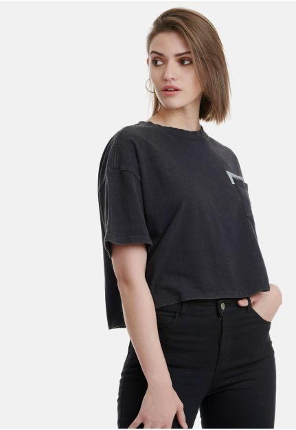 Cropped T-Shirt With Chest Pocket