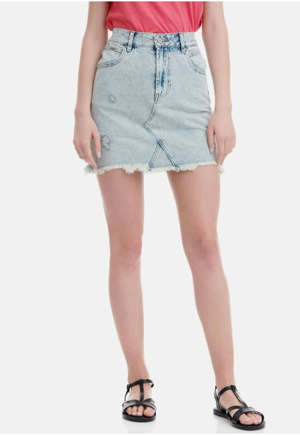 Denim Mini Skirt With Destroyed Effects