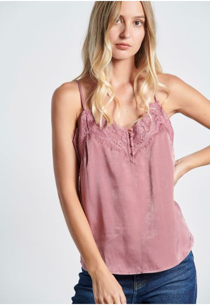 Satin Shell Top with lace details