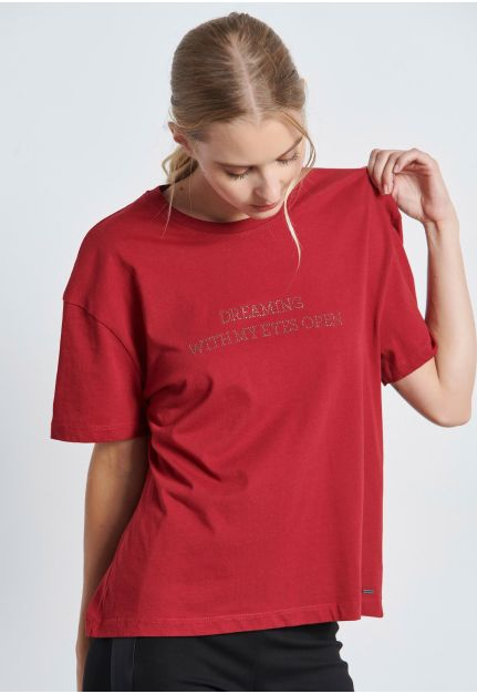 Strass Embellished Text T-Shirt