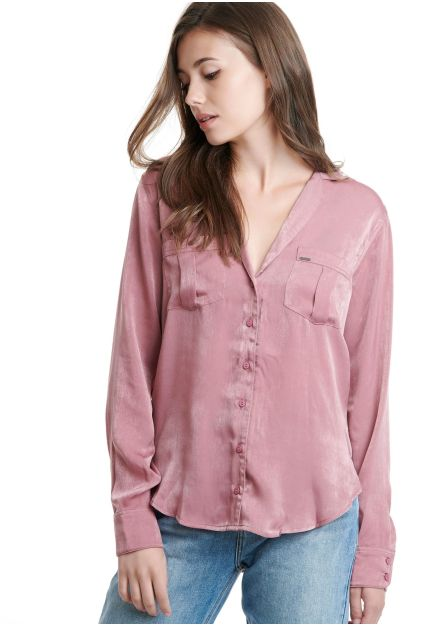 Satin Shirt with front pockets