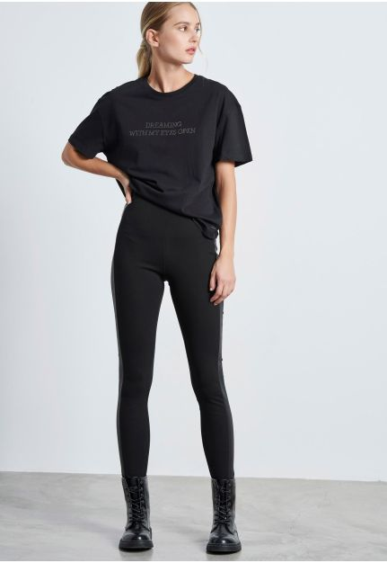 High-Wasted Leggings with stripe