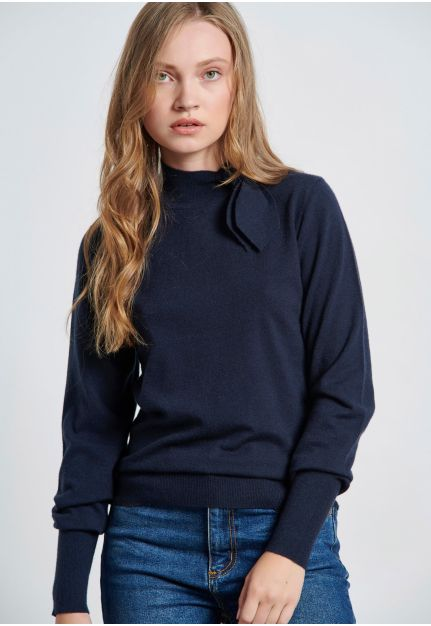 Sweater with Tie Up Stand Up Collar