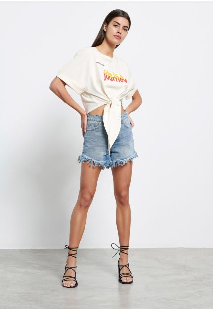 Front-tie cropped t-shirt