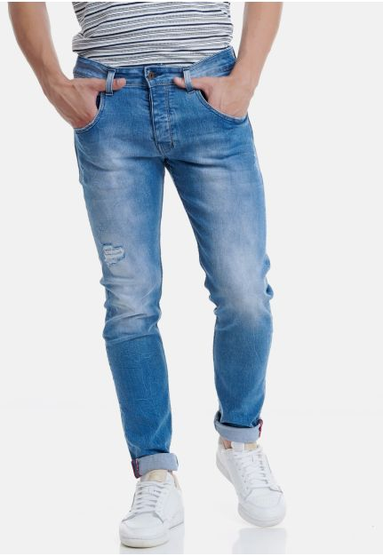 Slim Fit Jeans With Destroyed Effects