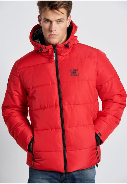 Hooded Puffer Jacket with contrast zipper