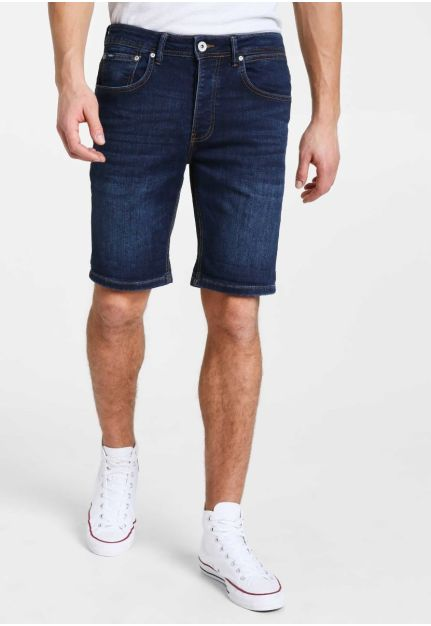 Denim shorts with washed effects